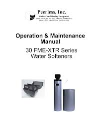 Peerless Water 30 Fme Xtr Series Service Owners Manual User