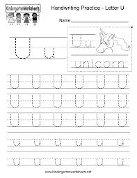Visual Discrimination Worksheets Letter U Handwriting Worksheet For Kindergarteners This Series Of