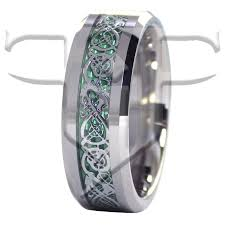 wedding rings tungsten images Silver celtic dragon tungsten ring green carbon fiber wedding band jpg