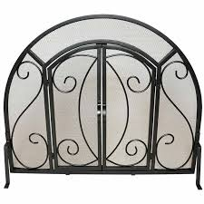 Single Fireplace Screen by Single Panel Ornate Fireplace Screen With Doors Black