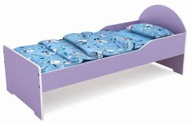 Purple Cartoon Wood Baby Bedpreschool Kids Bedroom Furniture - Non toxic childrens bedroom furniture