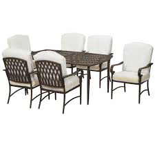 Metal Patio Dining Sets - hampton bay oak cliff custom 7 piece metal outdoor dining set