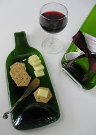 wine bottle plates melted wine bottle cheese plate with plum ribbon upcycled
