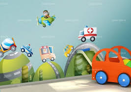 stickers voiture pour chambre garcon stickers ensemble cinq véhicules
