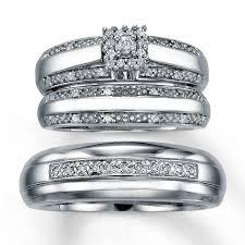 Trio Wedding Ring Sets by Kay Diamond Trio Wedding Set 1 5 Ct Tw Round Cut Sterling Silver