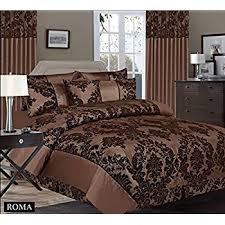royal damask duvet cover set king size bedding chocolate brown
