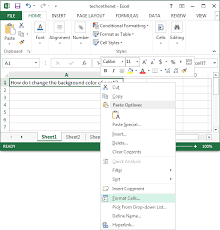 ms excel 2013 change the background color of a cell