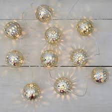 battery operated silver metal sphere led lights