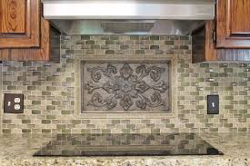 kitchen backsplash idea gray taupe green mosaic tile with bronze