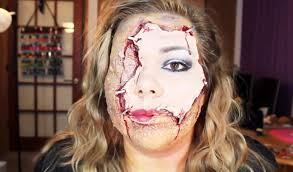 horrifying halloween makeup diy scarred face with flayed human