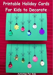 printable christmas cards to make printable holiday ornament cards for kids preschool projects