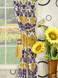 Sunflower Yellow Curtains by Hebe Floral Damask Grommet Velvet Curtains