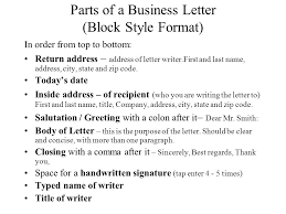 Business Letter Return Address business letter project ppt