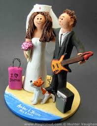 custom wedding cake toppers guitar wedding cake toppers