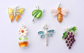 garden theme charms enamel and silver plated set of 6 cs00017