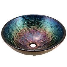 blue glass vessel sink 16in glass vessel sink for the bathroom jsg oceana
