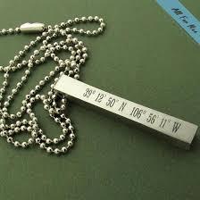Engraved Pendant Latitude Longitude Bar Necklace For Him Gps Engraved Pendant