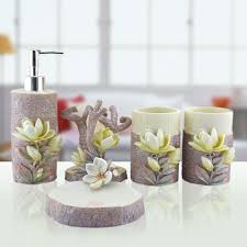 hand engraved plant 5pcs lily sculpture resin bathroom accessories