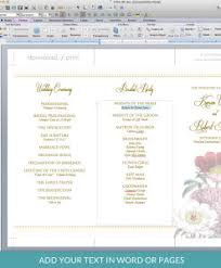 folded wedding program template programs print