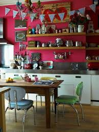 eclectic kitchen style with fuschia wall colors and wooden open