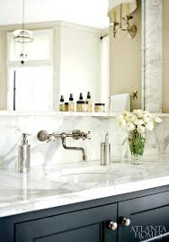 Bathroom Vanity Backsplash by Black Bath Vanity With Marble Backsplash Ledge Transitional