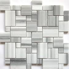 accent tile faber 13 in marble mosaic polished white and black