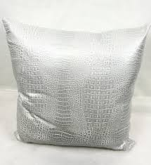 alligator white silver faux leather home decorative pillow alligator white silver faux leather home decorative pillow