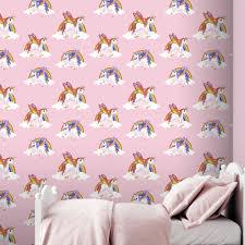wallpaper kids bedrooms rainbow unicorn pattern childrens wallpaper magic cloud horse