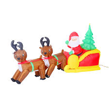 Lighted Deer Lawn Ornaments by 7 U0027 Inflatable Led Lit Christmas Santa And Reindeer Lawn Yard
