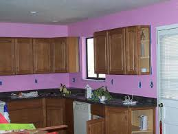 kitchen color idea purple wall theme and dark brown wooden kitchen cabinet also black