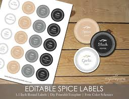 editable printable jar labels editable spice jar labels diy printable kitchen labels round