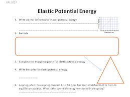 gcse physics worksheet elastic potential energy definition