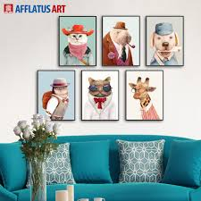 2017 cartoon animals wall art prints poster hipster wall picture