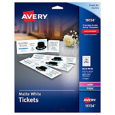 avery printable tickets 1 34 x 5 12 white pack of 200 by office