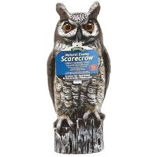 gardener great horned owl lawn ornament pest repellent decoy ow