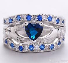 blue fashion rings images B200 2017 new silver plated diamond blue crystal jewelry three jpg