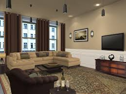 living room color schemes with brown couches furniture and