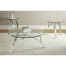 Livingroom Table Sets Steve Silver Orion Oval Chrome And Glass Coffee Table Set Hayneedle