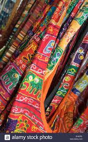 closeup colourful indian embroidered fabrics for sale kerala india