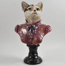 Quirky Home Decor Dapper Animal Cat Bust Statue Antique Clothes Quirky Home Decor