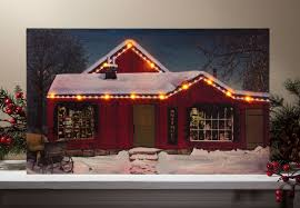 radiance flickering light canvas lighted picture shop at christmas with led lights