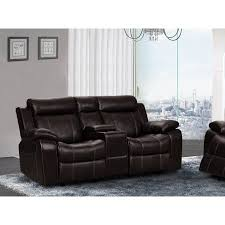ufe vivienne leather air rocking reclining loveseat with console