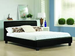 4ft small double black faux leather bed frame