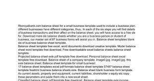 Sle Profit And Loss Statement Small Business by Free Sle Business Balance Sheet Docs