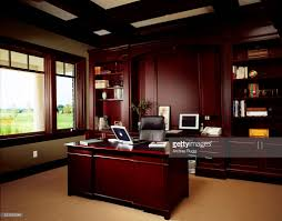 Wood Paneling Walls by Home Office With Dark Wood Panel Walls Stock Photo Getty Images