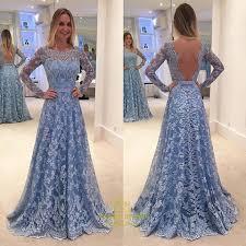 light blue long sleeve dress light blue long sleeve open back a line lace floor length formal