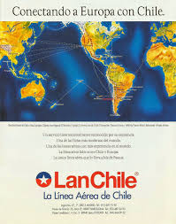 Easyjet Route Map by Airline Memorabilia Lan Chile 1997