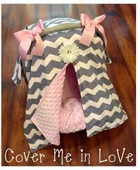 Pink Car Seat Canopy by Car Seat Canopy Grey Chevron And Pink Minky