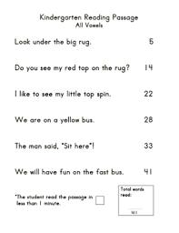 kindergarten reading passage