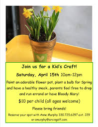 kid u0027s flower pot craft weymouth country club saturday april
